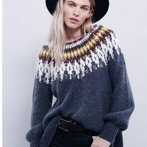 Free People Baltic Fair Isle scoop neck sweater XS